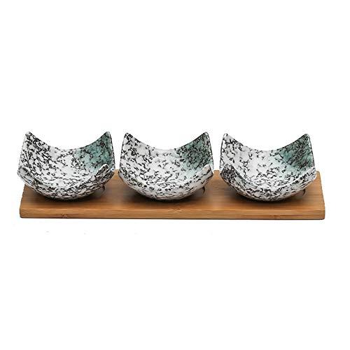 Plato de Salsa Plato de salsa de estilo japonés - Cuencos de inmersión Conjunto de 3 platos de plato de salsa de cerámica Platos de condimento Sushi Dump Bowl Appetize Placas de aperitivo Sirviendo pl