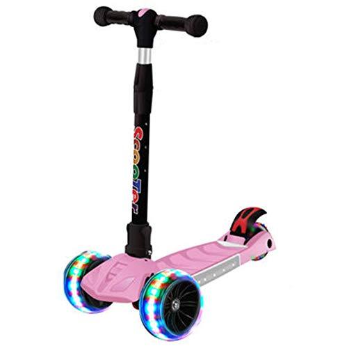 Scooters para Niños Scooter de la scooter de la música brillante colorida para los niños del scooter del niño pequeño con la altura plegable, ajustable, ilumina 3 ruedas Antideslizante Scooter Patinet
