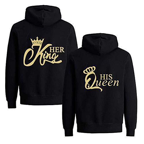 Daisy for U  Pärchen Hoodie Set King Queen Pullover für Zwei Kapuzenpullover für Paare Paar Valentinstag Partner, S(Herren), King2-schwarz-gold