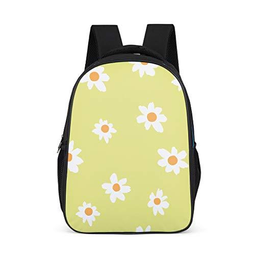 Mochila escolar para niños pequeños, diseño de flores, color amarillo