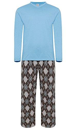 Pijama para hombre, forro abrigado azul Lt. Blue / Argyle