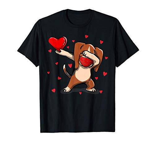 Dabbing Beagle And Face Mask Heart Disfraz de San Valentn Camiseta
