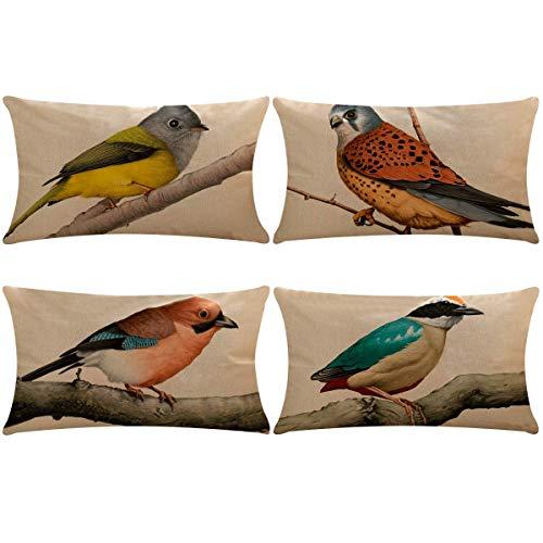 Thmyo, Confezione da 4 federe copricuscino in Cotone e Lino, per Divano e Letto, 30 x 50 cm (Solo Federa, Senza Inserto) 4 Pack Birds