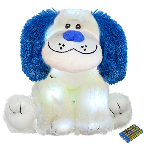 The Noodley Light Up Glow Puppy Dog Stuffed Animal LED Plush Sleep Toy for Toddlers, Kids, Boys & Girls, Valentines, Easter, Baby, White 16 inch