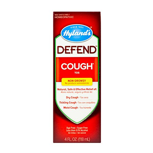 Cough Syrup by Hyland's Defend, Dry Cough Medicine, Mucus and Sore Throat Relief, Non-Drowsy, Natural Cough Suppressant for Adults, 4 Fl Oz