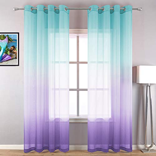 Lilac Turquoise Curtains for Bedroom Girls Gift Idea 2 Panel Grommet Window Sheer Ombre Rainbow Colorful Princess Curtains for Kids Room Decoration Baby Mermaid Decor Nursery 96 Inch Long Green Purple