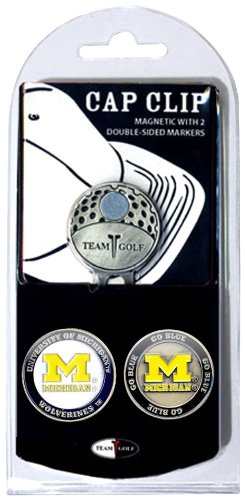 Team Golf NCAA Michigan Wolverines Golf Cap Clip with 2 Removable Double-Sided Enamel Magnetic Ball Markers, Attaches Easily to Hats