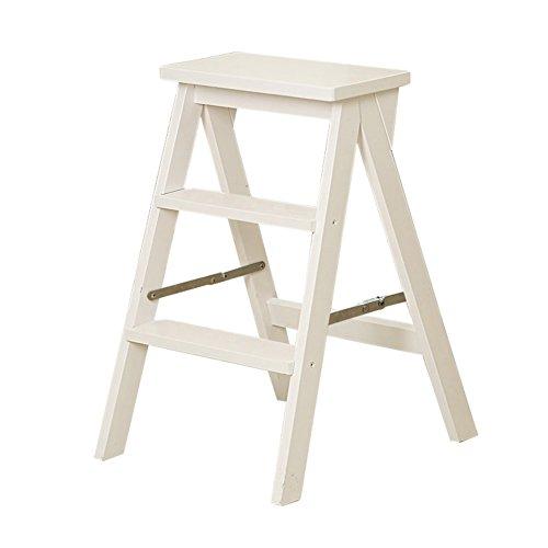 Stool Ladder- Echelle pliante en bois massif Tabouret Echelle 3 marches Tabouret de pied Chaise de salle a manger multifonctionnelle (Couleur : Blanc)