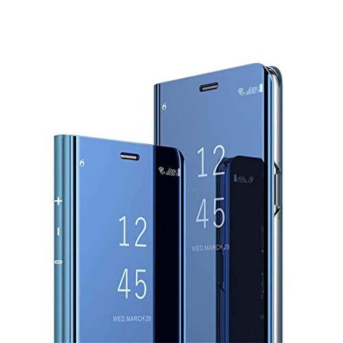 MISKQ Funda para Realme C21,Specchio di placcatura Sottile tavolo di osservazione pieghevole pratico Flip Holster Custodia protettiva All-Inclusive(Azul)