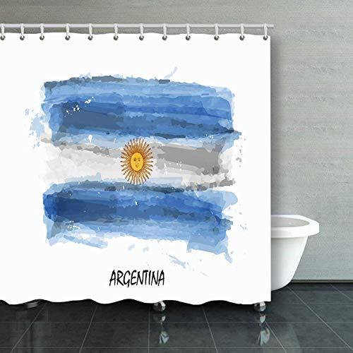 Tenda da doccia 182,9 x 200,7 cm, tenda da bagno, pittura ad acquerello realistica bandiera Argentina The Arts Argentina The Arts Education Argentina, tenda da doccia in tessuto poliestere con ganci