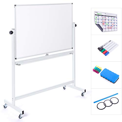 Mobile Whiteboard 48 x 36 Inch Double Sided Magnetic Dry Erase Board Large Rolling Stand Portable Easel Frame On Wheels For Office Home Classroom 5 Markers, Calendar, Eraser, 16 Magnets, Ruler, 3 Tape