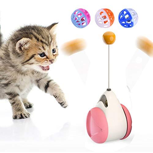 Macllar 3 en 1 Juguete Gato, Juguetes para Gatos con balanceo Interactivo para Gatos con Bola de Hierba gatera,Juguete Gato Interactivo, Pluma, Campanas y Rodillos, Juguete Interactivo para Gatos