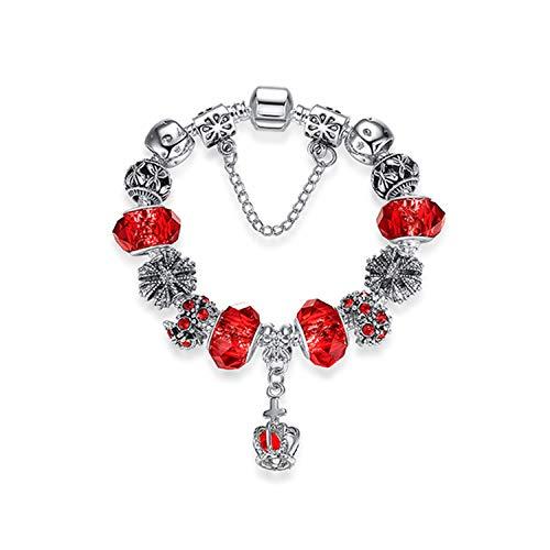 CNSP - Pulsera de plata con colgante de corazón para mujer, diseño de corazón, color rojo, 18 cm