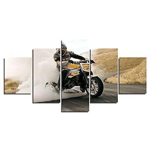 QZWXEC Rally de Motos de Carreras WSBK/ 5 Piezas Impresiones en Lienzo Impresión Lienzo Artística Dormitorios Modernos Decoración de Pared Cuadros XXL Pintura Modular - Ancho: 150Cm, Altura: 80Cm