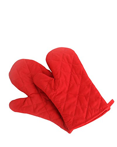 Nachvorn Oven Mitts Premium Heat Resistant Kitchen Gloves Cotton amp Polyester Quilted Oversized Mittens 1 Pair Red