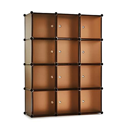 Meerveil Guardaroba Modulare da 12 cubi, Armadio Portatile,145 X 110 X 40 cm,Organizer per Giocattoli, Armadio modulare Amber Color
