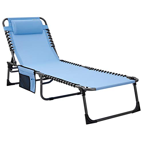 #WEJOY 4-Fold Oversized Folding Chaise Lounge Chair Outdoor Adjustable Camping Cot, Recliner Sunbathing Beach Pool Patio Deck Sleeping Bed Cot with Pillow, Cotton Padded, Side Pocket, Blue