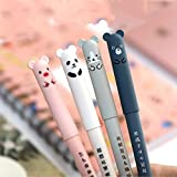 8pcs Cute Kawaii Cartoon Cat Pig Bear Panda Animal Gel Ink Pen Ballpoint 0.35mm Black Ink Student Pens Rollerball Pens For Student Gift Stationery Office Supplies, Erasable Pen Friction Erasable Pen