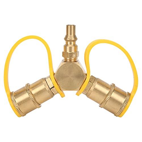 GAESHOW Adattatore Splitter a Y a connessione Rapida a 2 Vie 1/4 in RV per propano NPT per Kit connettore Tubo di propano