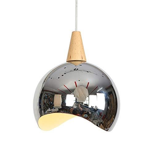 lumière pendante salle à manger lampe table à manger rond métal Ombre lampe pendentif bois décoration Lampe suspendue, moderne Suspension pour salle de séjour chambre à coucher restaurant, 1- E27