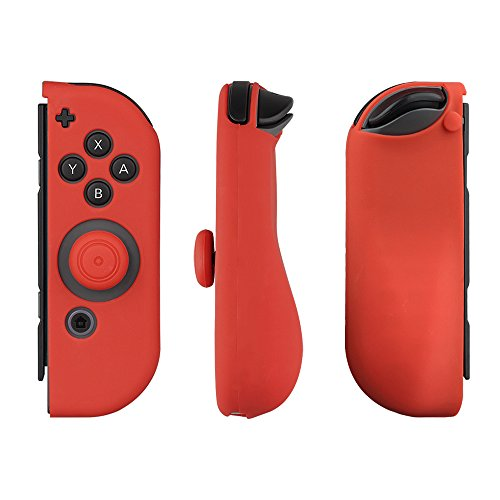 Mothca Nintendo Switch Case with Joy-Con Gel Guards & Thumb Grip Caps, Protective Skin Anti-Slip Lightweight Comfort for Nintendo Switch (Red&Blue with JoyCon Case)