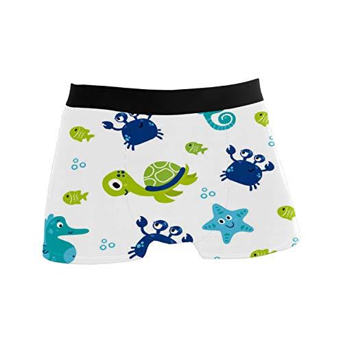 Herren-Boxershorts, atmungsaktiv, dehnbar, Geschenkidee für Jugendliche, Jungen, niedliche Meerestiere, Seestern, Krabben - - Small