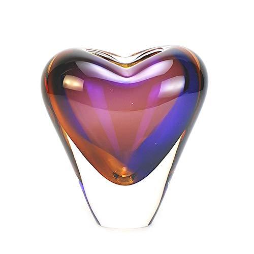 """Murano Glass Design Crystal Heart Vase Topaz Amethyst 7"""" Ht. 6"""" Length"""