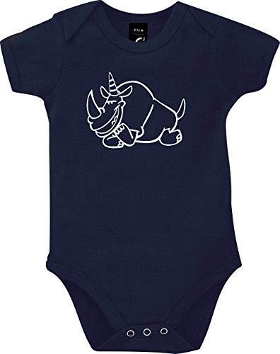 Shirtstown Body Bébé Drôle Animal Einhornnashorn, Licorne, Rhino - Rouge, 18-24 Monate