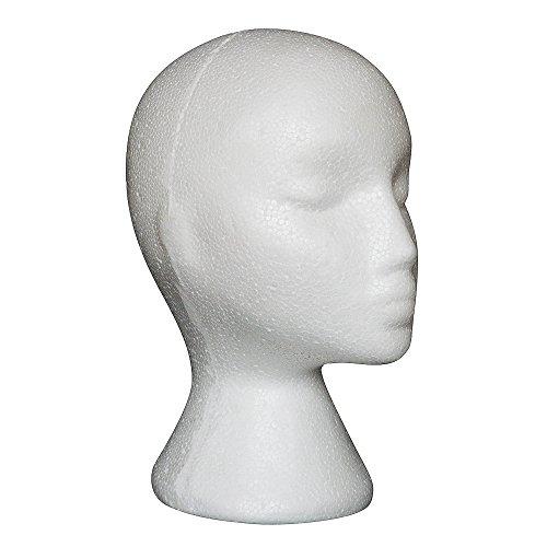 Vovotrade® Femme Styromousse Perruque haute Chapeau Lunettes Cheveux Styromousse Perruque Mannequin Stand Affichage Tête perruques Tête de mannequin Wig Tête de mannequin femme mousse tête (Blanc)