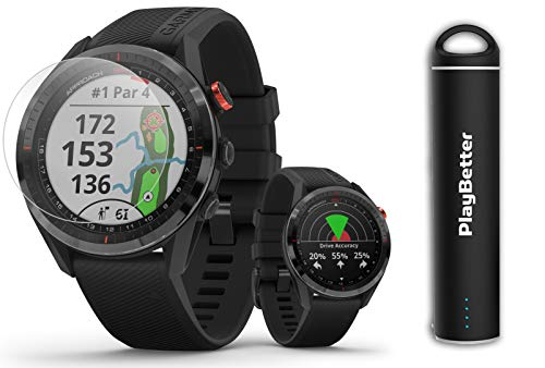 Garmin Approach S62 (Black) Golf GPS Watch PlayBetter Bundle   +PlayBetter HD Screen Protectors & Portable Charger   Touchscreen, Virtual Caddie, PlaysLike Distance   010-02200-00