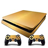 Adventure Games - PS4 SLIM - Gold, Brushed Aluminum Look - Playstation 4 Vinyl Console Skin Decal Sticker + 2 Controller Skins Set