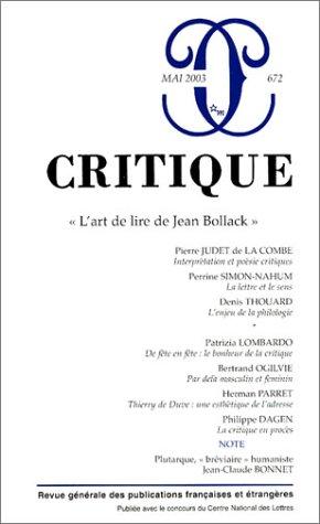 Critique Numero 672 Lart De Lire De Jean Bollack