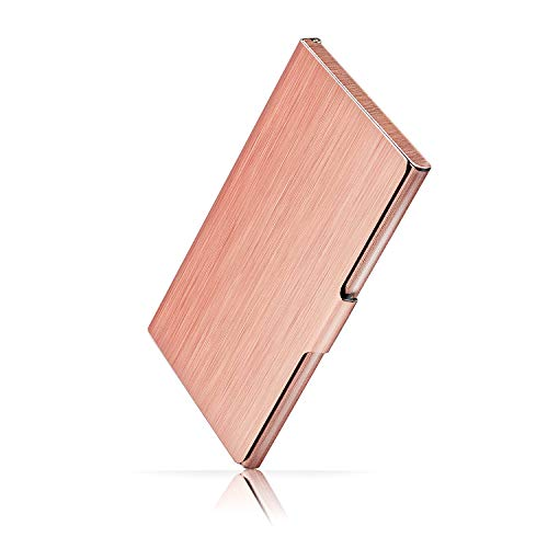 Ocadux Professional Business Card Holder Case, Metal Pocket Business Card Case for Women or Men, Stainless Steel, 3.7 x 2.3 x 0.3 inches, Rose Gold