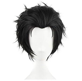 C-ZOFEK Men s Anime Cosplay Wig Short Balck Halloween Classical Slicked-back Hair  Black