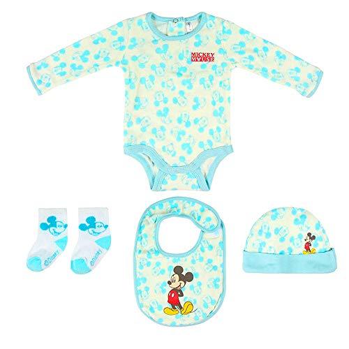 Disney Ensemble cadeau de bienvenue pour enfant Mickey Body, chapeau, bavoir, chaussettes de 1 à 3 mois 100% coton