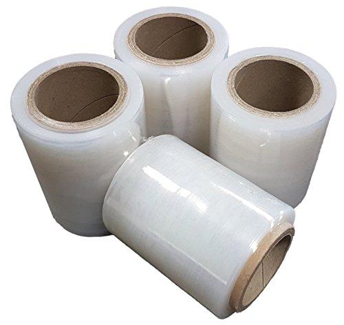 Net4Client Paquete de 4 Rollos de Envoltura Elástica Transparente por Cajas de Embalaje de Paquetes Envoltura de Película Adhesiva Rollos de Estiramiento Rápido 100mm 150m Fi50 23µm