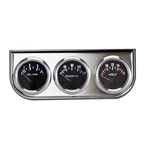 Zusatzinstrumente,3-In-1-Kombi-Messgerät, Verchromtes Dreifachmessgerät, 52 Mm Wassertemperatur, Öldruck Und Spannungsmodifizierter Messgerät - Silber
