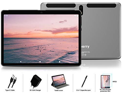 Tablet 10 Pollici con Ultimo Android 10.0- MEBERRY Ultra Portatile Tablet PC: 4 GB di RAM + 64 GB di ROM con Processore Quad-core| WIFI| GPS| Doppia Fotocamera | Phablet con Corpo in Metallo Gray