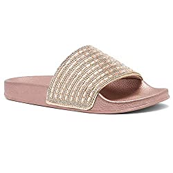 Rose Gld Rhinestone Slide Slip On Mules Summer Sandal