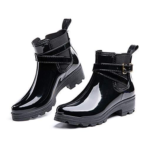 Gummistiefel Damen Kurz Schlupfstiefel Regenstiefel Frauen Stiefeletten Stiefel Kurzschaft Wasserdicht Chelsea Boots Elegant Schwarz Größe 38
