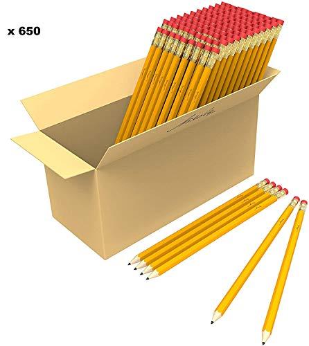 Bulk Premium Pre-Sharpened Wood Cased #2 HB Pencils 650 Pack