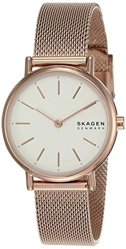 Skagen Women's Signatur Quartz Analog Stainless Steel and Stainless Steel Mesh Watch, Color: Rose Gold / White (Model: SKW2694)