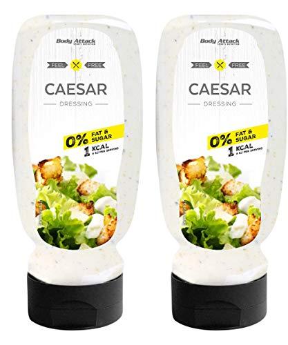 Body Attack Salatdressing - Vegan und Low Carb, 2er Pack (2x 320ml) (Caesar)