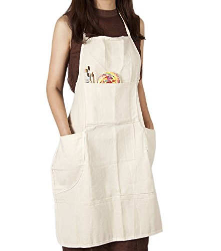 CONDA 100% Cotton Canvas Professional Bib Apron With 3 Pockets for Women Men Adults,Waterproof,Natural 31inch By 27inch