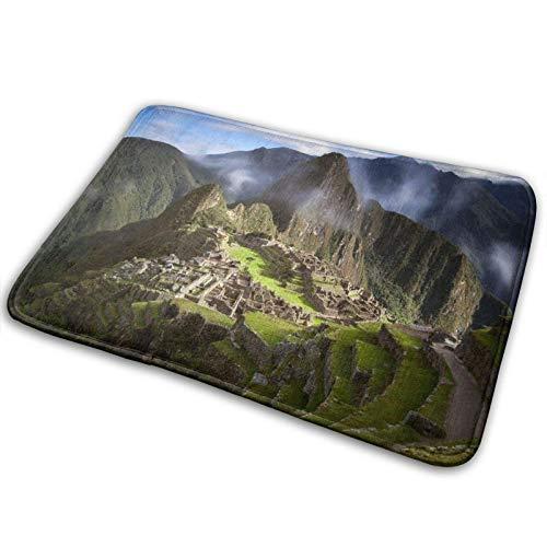 Felpudo de bienvenida - Montañas de Machu Picchu Perú Alfombra antideslizante para piso de entrada Alfombra de puerta delantera para interiores y exteriores - Alfombras de alfombra lavables a máquina
