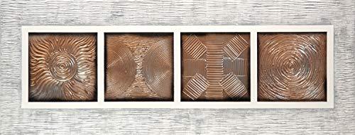 Cuadroexpres - Cuadro Pintado Mandalas 130x50 cm, con Reflejos Dorados y Plata y Marco Relieve Pintado sobre el Lienzo 100% Original