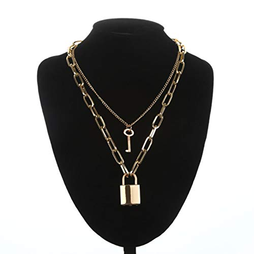 Daman Lock Chain Necklace With Padlock Pendants Women Men Punk On The Neck Aesthetic Accessories,gold color