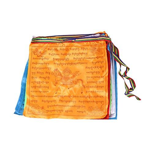 NUOBESTY Buddhistische Fahnen Gebetsfahnen Windpferd Kalachakra Lungta Hängen Dekorative Fahnen Banner Buddhismus Zubehör