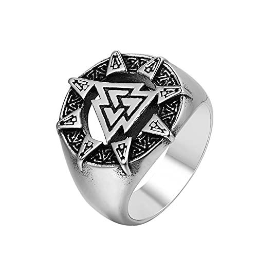 ZiFei Anillos de Acero Inoxidable para Hombre Vikingo Odin Triángulo Rey de Los Dioses Punk para Motociclista Hombre Novio Joyería Regal de Creatividad,9