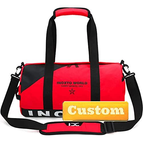 Nombre Personalizado de Personalizado Viaje de Nylon de la Noche a la mañana Bolsa para Hombres Impermeable (Color : Red, Size : One Size)
